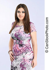 close up.fashionable woman model in summer dress. plus size