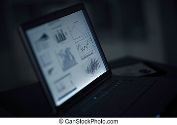 close up.financial chart on the laptop screen