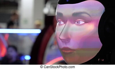 Close up.Robot with human face made by projection. Professional shot in 4K resolution. 039. You can use it e.g. in your commercial video, medical, business, presentation, broadcast