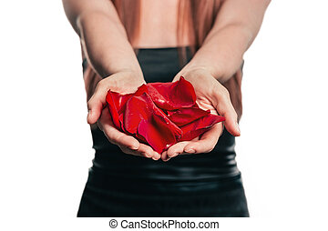 close up.rose petals in the hands of a young woman