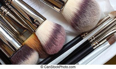close-ups of make-up brushes - beauty treatment