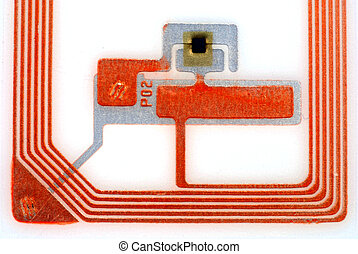 Close up pictures of a RFID tag showing the chip and antennas