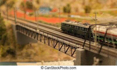 Toy train railroad town focus - close-upToy train railroad...