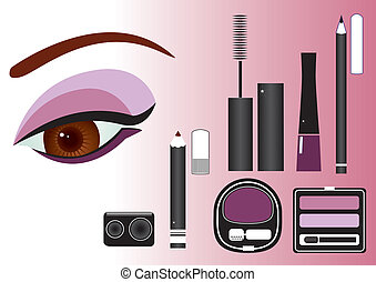 close-up.vector, trucco, immagine