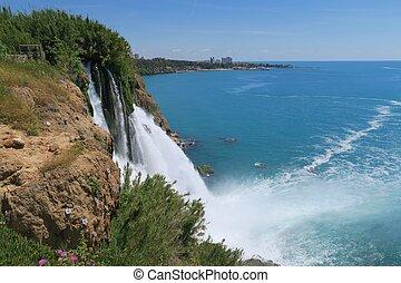 Close View at Duden Waterfall in Antalya - Turkey - Close...