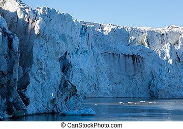 close view front of natural Esmarkbreen glacier in Spitsbergen