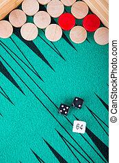 Close view of a backgammon game.