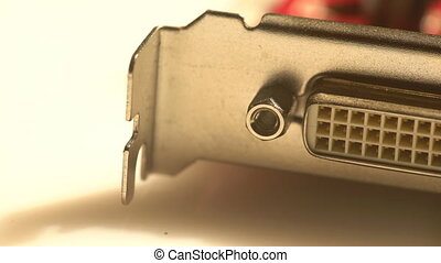 Close view of a DVI port - Macro view of a graphics card...