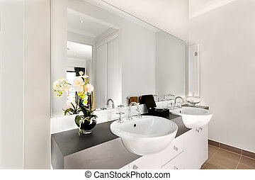 Close view of a modern bathroom included a big mirror and white washstands