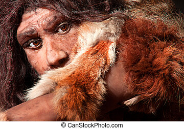 expression - close view of a neanderthal man, focused in ...