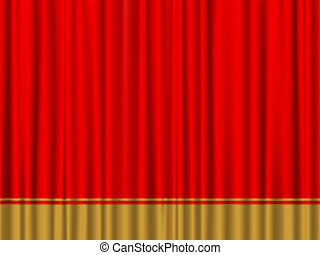 red gold curtain - Close view of a red gold curtain. Vector...