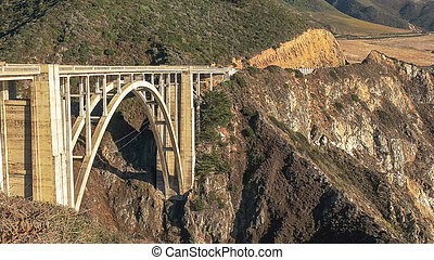 close view of bixby bridge on highway 1 along the california coast in big sur