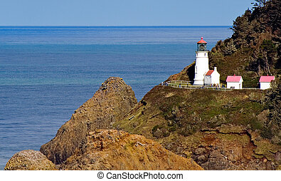 Close View of Heceta Head Lighthouse on Oregon Coast - Close...