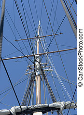 close view of masts and rigging
