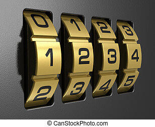 Close view of metal 4-digit combination lock
