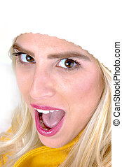 close view of model with open mouth