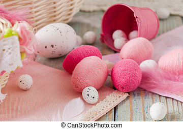 Close view of pink handmade Easter eggs