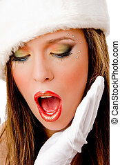 close view of shocked female on an isolated background