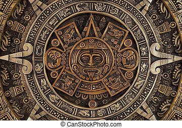 Close view of the aztec calendar