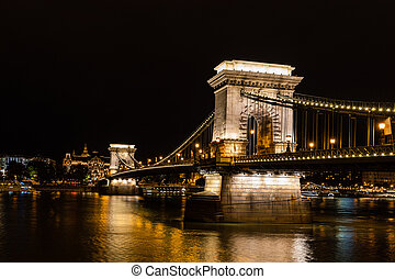 Beautiful view of the Szechenyi Chain Bridge over the River Danube and the skyline of the Budapest at night, Hungary