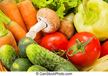 Close view of various summer vegetables