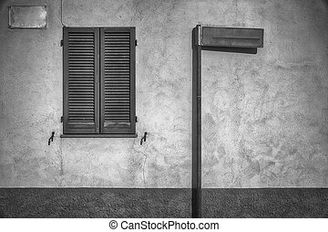 Close window shutter and street sign - empty mock up for...