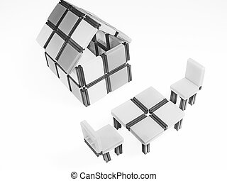 Close_up of a model home with Sitting Arrangement
