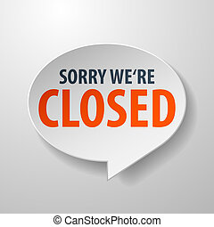 Closed 3d Speech Bubble on white background