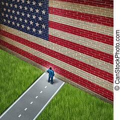 Closed America and United States government shutdown concept as a metaphor for US closure or strict immigration policy as a businessman on a road blocked by giant brick wall with a painted flag blocking entrance as a trade or business barrier.