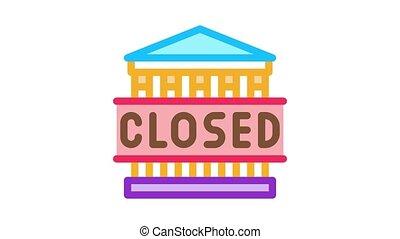 closed amusement park Icon Animation. color closed amusement park animated icon on white background