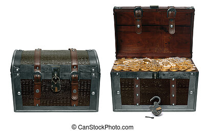 Closed and Open Treasure Chests - Two treasure chests...