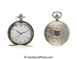 Closed and opened pocket watch