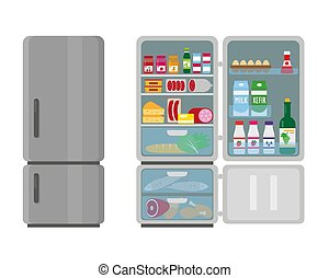 Closed and opened refrigerator full of food.