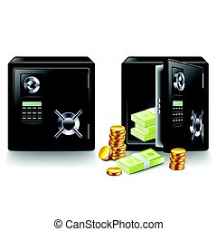 Closed and opened safe with money isolated vector