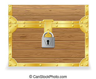 closed antique chest vector illustration isolated on white...