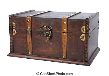 Closed antique wooden trunk