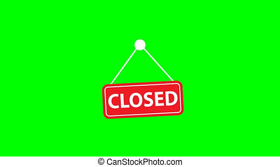 closed banner animation icon on green background. video ...
