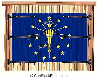 Closed Barn Door With Indiana State Flag
