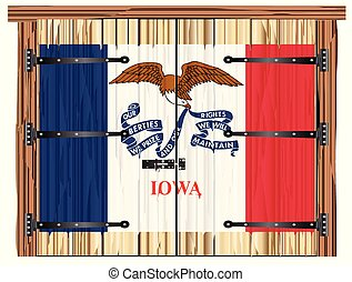Closed Barn Door With Iowa State Flag