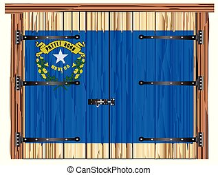 Closed Barn Door With Nevada State Flag
