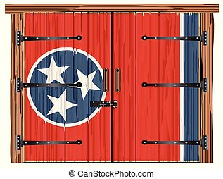 Closed Barn Door With Tennessee State Flag