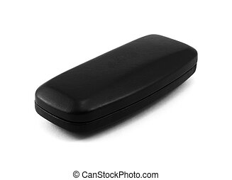 Closed black glasses case isolated on white