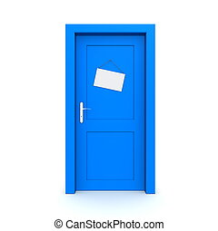 Closed Blue Door With Dummy Door Sign - single blue door...
