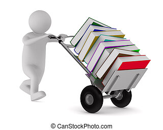 Closed book and books on white background. Isolated 3D image