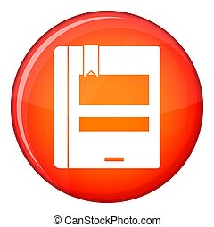 Closed book icon, flat style