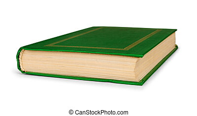 closed book in green cover to the side on an isolated white...
