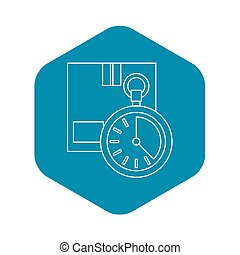 Closed box and stopwatch icon, outline style