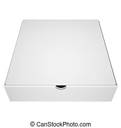 Closed box from under the pizza. Isolated render on a white ...