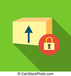 Closed box icon, flat style