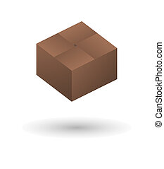 closed brown paper box with shadow on white background